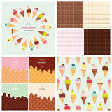 Sweets big set. Ice cream cone seamless pattern. Chocolate and wafer background collection. Hello summer poster. Royalty Free Stock Photography
