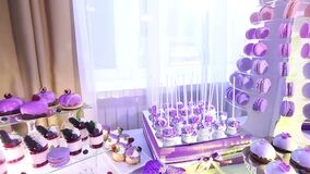 Sweets on buffet table, wedding, the table with sweets, dessert buffet, beautiful alcoholic shots. Sweets on buffet table, wedding, the table with sweets stock video