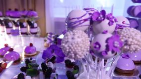 Sweets on buffet table, wedding, the table with sweets, dessert buffet, beautiful alcoholic shots. Sweets on buffet table, wedding, the table with sweets stock video footage