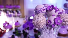 Sweets on buffet table, wedding, the table with sweets, dessert buffet, beautiful alcoholic shots. Sweets on buffet table, wedding, the table with sweets stock footage