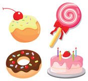 Sweets and cakes vector illustration