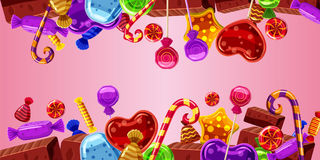 Sweets cakes banner horizontal pink, cartoon style. Sweets cakes horizontal banner concept pink. Cartoon illustration of sweets cakes banner horizontal vector Royalty Free Stock Photography