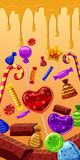 Sweets cakes banner vertical, cartoon style. Sweets cakes vertical banner concept. Cartoon illustration of sweets cakes banner vertical vector for web Royalty Free Stock Image