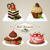 Sweets cakes dessert set. Decorative sweets desserts set with shortcrust sponge cake and pudding isolated vector illustration Royalty Free Stock Photography