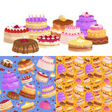 Sweets cakes with different stuffing, chocolate dessert vector illustration set Royalty Free Stock Photography