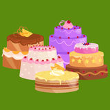 Sweets cakes with different stuffing, chocolate dessert vector illustration set Royalty Free Stock Images