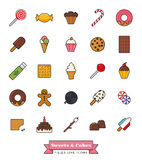 Sweets and Cakes Filled Line Icon Set Stock Photos