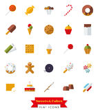 Sweets and Cakes Flat Design Icon Set. Collection of candy, sweets, cookies and cakes flat design isolated icons Royalty Free Stock Image