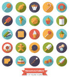 Sweets and Cakes Flat Design Round Icon Set Stock Photography