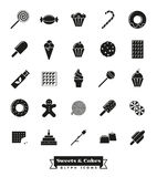Sweets and cakes glyph icon Set. Sweets, cakes, candy vector glyph icon collection Royalty Free Stock Photography