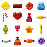 Sweets cakes icons set, cartoon style. Sweets cakes icons set. Cartoon illustration of 16 sweets and cakes vector icons for web Royalty Free Stock Images