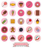 Sweets and Cakes Round Filled Line Icon Set. Collection of candy, sweets, cookies and cakes filled line icons in pink toned circles Stock Photos