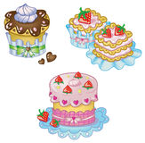 Sweets. Cakes set in kawaii style Royalty Free Stock Image