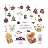 Sweets and cakes set Royalty Free Stock Photography