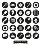 Sweets and cakes solid black round icon Set. Sweets, cakes, candy vector glyph icon collection, negative in black circles Stock Photos