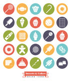 Sweets and cakes solid color round icon Set. Sweets, cakes, candy vector glyph icon collection, negative in colored circles Stock Photo