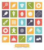 Sweets and cakes solid color square icon Set. Sweets, cakes and candies vector icon collection, negative in colored squares Stock Photography