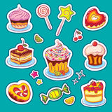 Sweets and cakes Stickers Royalty Free Stock Photos