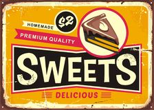 Sweets and cakes vintage tin sign Stock Image