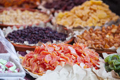 Sweets, candied, dried fruit and jellies Stock Photos