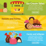 Sweets candies banner horizontal set, flat style. Sweets candies banner horizontal concept set. Flat illustration of 3 sweets candies vector banner horizontal Stock Image