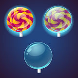 Sweets and candies colored vector icons set Royalty Free Stock Images
