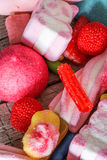 Sweets and candies with colorful backgrounds Stock Images