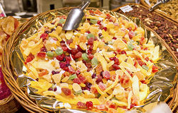 Sweets, candies and dried fruits in La Boqueria Royalty Free Stock Images