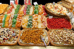 Sweets, candies and dried fruits in La Boqueria Stock Photo