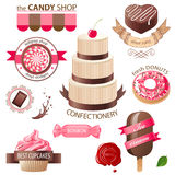 Sweets and candies emblems. Colorful sweets and candies emblems Royalty Free Stock Photo