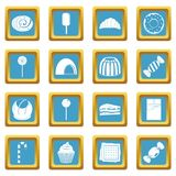 Sweets and candies icons azure Royalty Free Stock Photos