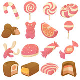 Sweets and candies icons set, cartoon style. Sweets and candies icons set. Cartoon illustration of 16 sweets and candies vector icons for web Stock Photography