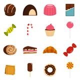 Sweets and candies icons set in flat style Stock Image