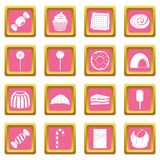 Sweets and candies icons pink. Sweets and candies icons set in pink color isolated vector illustration for web and any design Royalty Free Stock Photos