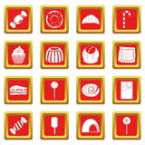 Sweets and candies icons set red. Sweets and candies icons set in red color isolated vector illustration for web and any design Stock Photos
