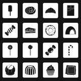 Sweets and candies icons set squares vector Stock Photography