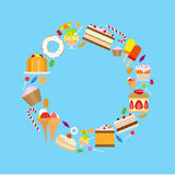 Sweets and candies round frame. On blue background. Vector illustration Stock Images