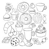 Sweets and candies sketches. Set of various doodles, hand drawn Stock Images