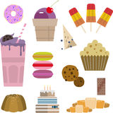 Sweets candy cake ice cream cake donut muffin stock illustration