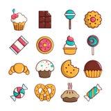 Sweets candy cakes icons set, cartoon style. Sweets candy cakes icons set. Cartoon illustration of 16 sweets candy cakes vector icons for web royalty free illustration
