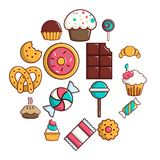 Sweets candy cakes icons set, cartoon style. Sweets candy cakes icons set. Cartoon illustration of 16 sweets candy cakes vector icons for web Stock Photography
