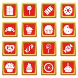 Sweets candy cakes icons set red square vector Royalty Free Stock Photography
