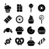 Sweets candy cakes icons set, simple style. Sweets candy cakes icons set. Simple illustration of 16 sweets candy cakes vector icons for web Stock Images