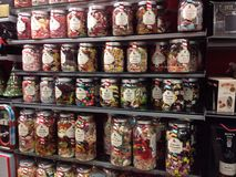 Sweets or candy in glass jars. Royalty Free Stock Photography