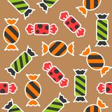 Sweets candy halloween theme filled outline seamless pattern sui vector illustration