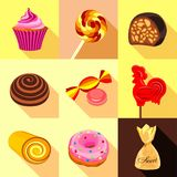 Sweets and candy icons set, flat style. Sweets and candy icons set. Flat set of 9 sweets and candy vector icons for web with long shadow Stock Photo