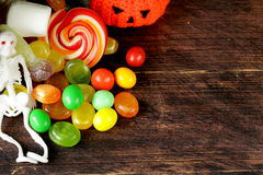 Sweets and candy traditional treat on Halloween Royalty Free Stock Images