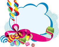 Sweets card. Candy, sweets, candies against cards tied with red ribbon with a bow Stock Image