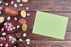 Sweets and card with copyspace. Stock Photography
