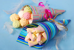 Sweets for child in paper cones Stock Photo